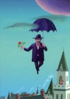 Umbrella Flying Man Church Girl Art POSTCARD Osamu Komatsu Japanese Illustrator - 10267 - Peintures & Tableaux