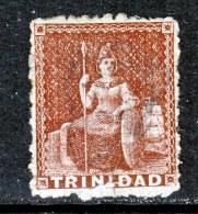 Trinidad 18a  Lake On Thin Paper 1859 Issue Perf 12 1/2  Fault (o) - Trinidad & Tobago (...-1961)