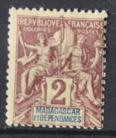 P 250 ++ MADAGASCAR 1896  HINGED ONGEBRUIKT - Madagaskar (1960-...)