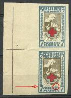 Estland Estonia Estonie 1921 Roter Kreuz Red Cross Michel 30 Bin Pair + ERROR E: MNH - Estonia