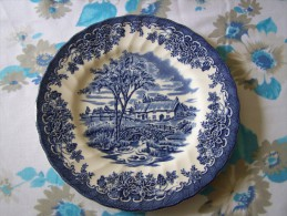1 ASSIETTE PLATE FAÏENCE Anglaise  MADE IN MYOTT FINE Tableware ENGLAND COTTAGE PONT BROOK CAMPAGNE ANGLAISE - Myott