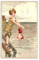 AK Künstlerkarte Frau Im Badeanzug Springt Ins Meer - 1900-1949
