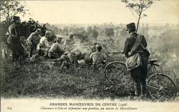 GRANDES MANOEUVRES DU CENTRE CHASSEURS A CHEVAL DEFENDANT UNE POSITION 1908 - Manovre
