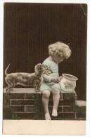 Fillette Et Basset,  Pot De Chambre - Union Postale Universelle 1906 Wattwil CH - Children