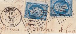FRAGMENT AFFRANCHIE N° 222 -2 EX- CAD LOSANGE GROS CHIFFRES110 -ANNECY- VARIETE SUR UN TIMBRE - 1863-1870 Napoleon III With Laurels