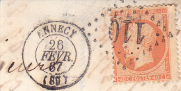 FRAGMENT AFFRANCHIE N° 23- CAD LOSANGE GROS CHIFFRES110 -ANNECY-  TB - 1863-1870 Napoleon III With Laurels