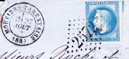 FRAGMENT AFFRANCHIE N° 29- CAD LOSANGE GROS CHIFFRES 2572 -MOUTIERS-TARENTAISE - 1863-1870 Napoleon III With Laurels
