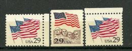 USA.  Stars & Stripes. Drapeau 3 T-p Neufs **  (Mont Rushmore,etc)  Inclus T-p Roulettes 1991 - Etats-Unis