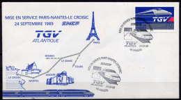 MISE EN SERVICE DU T.G.V. PARIS-NANTES-LE CROISIC - Marcophilie (Lettres)