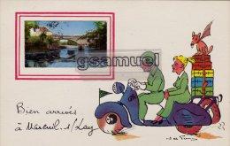 85 -  Illustrateur -  Bien Arrivés à Mareuil-sur-Lay (scooter). - (voir Scan Recto-verso). - Mareuil Sur Lay Dissais