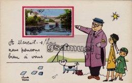 85 -  Illustrateur Claude Verrier - A Mareuil-sur-Lay Nous Pensons Bien à Vous. - (voir Scan Recto-verso). - Mareuil Sur Lay Dissais