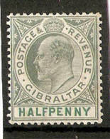 GIBRALTAR 1904-08 ½d SG 56 WMK MULTIPLE CROWN CA ORDINARY PAPER MOUNTED MINT Cat £20 - Gibraltar