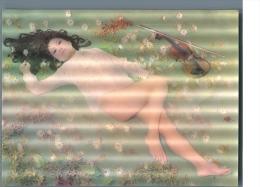 Nude Woman With A Violin, Erotic 3d Postcard - Stereoskopische Ansichten