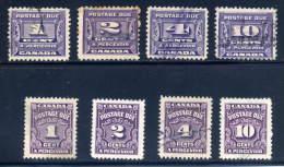 Canada  J11, J12, J13, J14. J15 16,17,20   Used  Sound    1933 - Postage Due