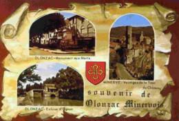 34-OLONZAC-CPM-3 Vues.Ecluse D´Ognon,Monument Aux Morts,Vestiges De La Tour;;; - Zonder Classificatie