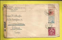 """Lettre JAPON . En Provenance De KOBE Le 20 05 1948 Pour La BELGIQUE . Lettre Censurée Et Ouverte  """"OPENED BY  MIL.CEN.CI - Storia Postale"""