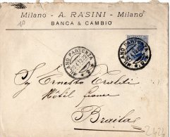 RARA-BUSTA COMMERCIALE -MILANO- 22-4-1942-A.RASINI-BANCA & CAMBIO-VIAGGIATA A BRAILA-ROMANIA - Poststempel