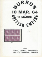 The Burrus Collection Of British Empire:  Kenya, Uganda, Trinidad, Malaya, Transvaal, Robson Lowe, London,March 10, 1964 - Catalogues For Auction Houses
