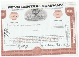 ACCION ANTIGUA - ACTION ANTIQUE = Pen Central Company - Pensilvania Marron Años 60/70 Con Recibo En Reverso - Shareholdings