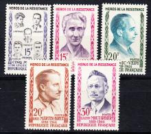 FRANCE1959.YVERT Nº 1198/1202.,HÉROS DE LA RÉSISTANCE.NEUF SANS CHARNIÈRE. FR 129 - Francia