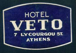 D261 / HOTEL VETO - 7 LYCOURGOU ST.  - ATHENS - LABELS -  Greece Grece Griechenland Grecia - Hotel Labels