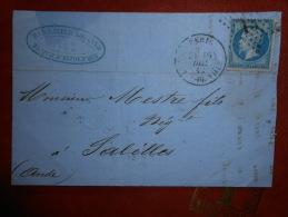Lot Du 3.09.13-03_lettre De Paris,etoile 13 Hotel De Ville - 1862 Napoléon III