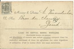 PREO  GENVAL 1908  Sur Carte Genval-les-Eaux - Roller Precancels 1900-09