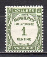 (S0746) FRENCH ANDORRA, 1935 (Postage Due Stamp, 1c, Olive Green) Mi # P16. Mint Hinged* Stamp - Andorre Français