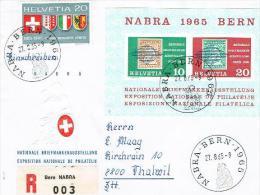 LETTRE.avec . BLOC  .N°43 .1965. - Svizzera