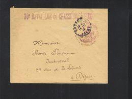 Lettre 30e Bataillon De Chasseurs A Pied 1914 - Poststempel (Briefe)