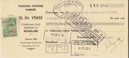 Belgien Belgium Quittung M Steuermarke Fiscal Revenue Roeselare Pudding Fabrik 1939 - Belgien
