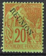 P 237 ++ RÉUNION 1891 MCHL 23 HINGED * PLAK(REST) - Réunion (1852-1975)