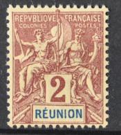 P 239 ++ RÉUNION 1892 MCHL 33 HINGED * PLAK(REST) - Réunion (1852-1975)