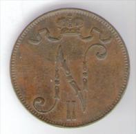 FINLANDIA 5 PENNIA 1899 NICHOLAS II - Finlandia
