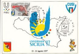 BASKETBALL, WATERPOLO, SICILIAN UNIVERSITY GAMES, CM, MAXICARD, CARTES MAXIMUM, 1997, ITALY - Basketball