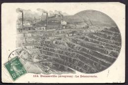 CPA ANCIENNE - FRANCE- DECAZEVILLE (12)- MINE DE LA DÉCOUVERTE- TRES GROS PLAN- CHEMINÉES FUMANTES - Decazeville
