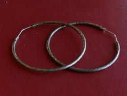 (19) Boucles D'oreilles En Argent - Anneaux 42 Mm - 4,65 Grs - Aretes