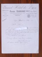 GRAY (70): Lettre à En-tête 1920  Grand Hôtel De LYON - Touring-Club De France - CHARBONNET - France