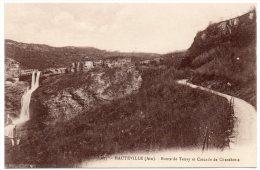 CP, 01, HAUTEVILLE, Route De Tenay Et Cascade De Charabotte, Vierge, Ed : ABEM - Hauteville-Lompnes