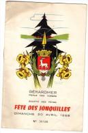 88 GERARDMER Programme De La Fête Des Jonquilles De 1958    D920/931/933/942 - Programs