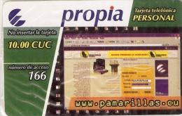 PRD-021 TARJETA DE CUBA PROPIA DE 10 CUC DE PAMARILLAS.CU  (NUEVA-MINT) - Cuba