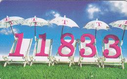 """Telefonkarte  PD - 7/99, 12 DM, DTMe, 11833 Auf Liegestühlen Im Sommer, """"Bei Unserer Auskunft Liegen Sie Immer Richtig"""" - Spiele"""