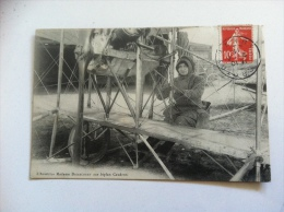 Originale Cpa L´ Aviatrice Madame Driancourt Sur Biplan Caudron - Avions