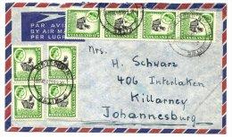 (2972) -  Rhodesia & Nyasaland 1959, QE Def  1/2d Coil Stamp  8x On Cover - Rhodesien & Nyasaland (1954-1963)