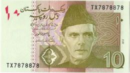 PAKISTAN NEW 10RS SEMI FANCY NUMBER TX7878878  2012 - Pakistan