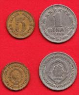 2Pièces De Monnaies Yougoslavie De  5 Paras +1965+ Et 1 Dinar +1965+ - Yougoslavie