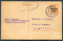1918 Belgium Entier 8 Cent Charleroi - Verviers Censure WW1 Guerre Censor Zensur Stationery Card - WW I