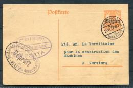 1917 Entier 8 Cent Huy - Verviers Censur WW1 Censure Stationery Card Censor Zensor - WW I