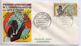 COTE D'IVOIRE--1961--FDC  1er Jour--1er Anniversaire Proclamation Indépendance--dessin Signé  GENOT -Combar - Côte D'Ivoire (1960-...)