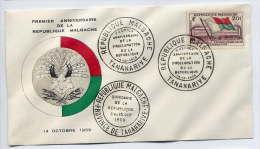 MADAGASCAR-- 1959-----Lettre FDC 1er Jour----1er Anniv De La République Malgache - Madagascar (1960-...)